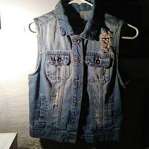 Cute short sleeve denim jacket